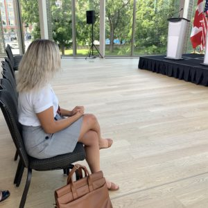Rachel Emmanuel at the National Arts Centre for a media press conference with Foreign Affairs Minister Crystia Freeland and U.S. Secretary of State Mike Pompeo.